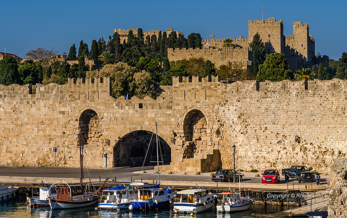 View of the old town of Rhodes Greece.