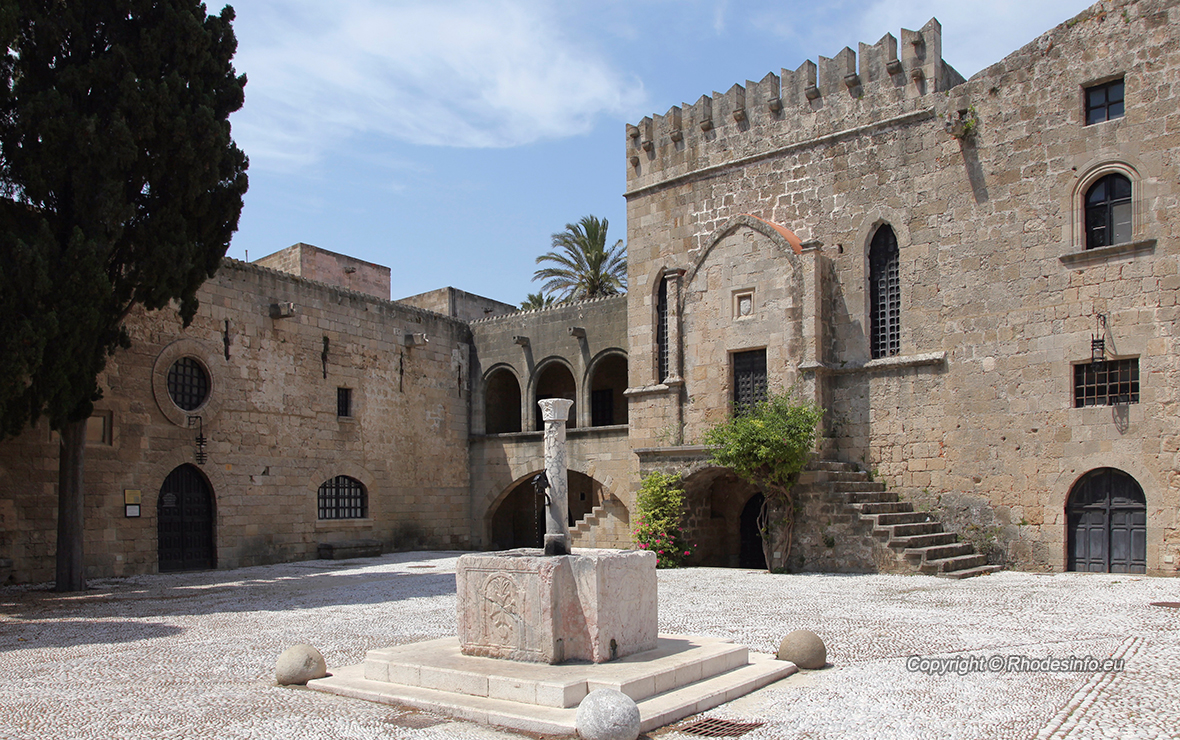 The Argirokastrou Square in the old town of Rhodes, Greece