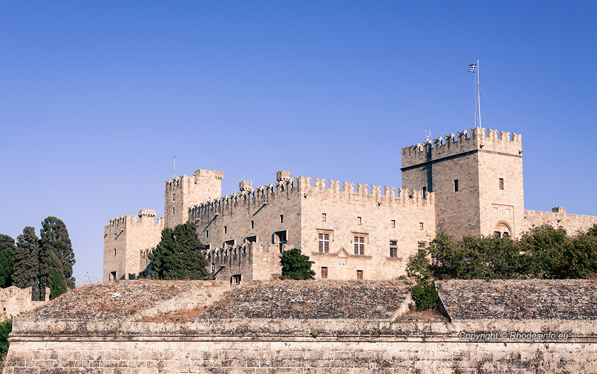 Rhodes Island, Greece, a symbol of Rhodes, the main entrance of the famous Knights Grand Master Palace (also known as Castello) in the Medieval town of rhodes, a must-visit museum of Rhodes.