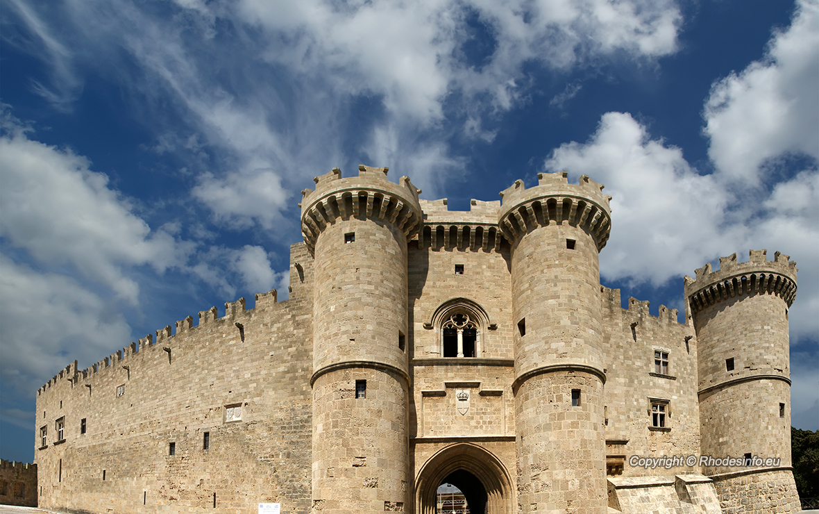 Rhodes Island, Greece, a symbol of Rhodes, of the famous Knights Grand Master Palace (also known as Castello) in the Medieval town of Rhodes