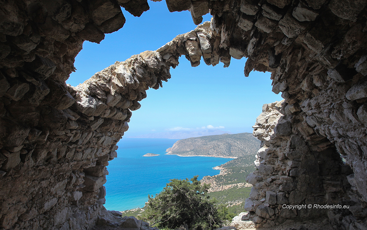 View from the ruined castle of Monolithos on the island of Rhodes, Greece